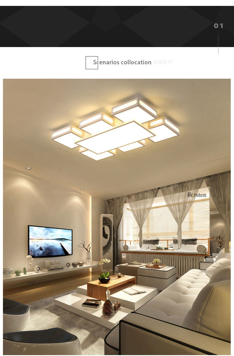Modern Simple Acrylic LED Ceiling Lights Minimalist Rectangular Ceiling Chandelier Lights Lamp For Living Room Bedroom 220V (2)