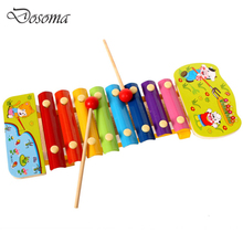 Wooden Cartoon 8 Musical Scale Knock Piano Puzzle Musical Toys Wooden Hand Piano Xylophone Wisdom Juguetes Music Instrument Toys