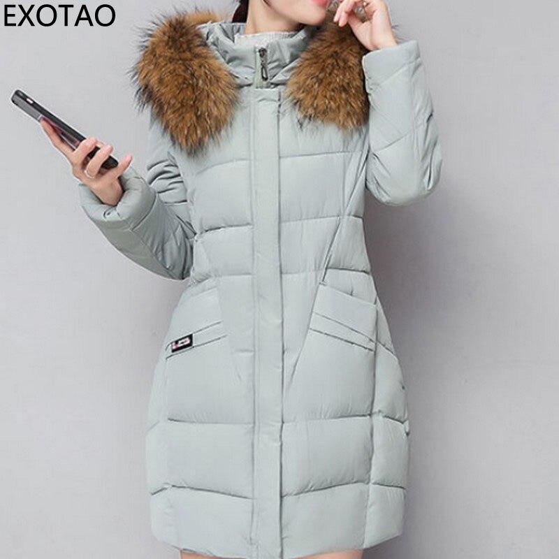 EXOTAO with Fur Hats Winter Coats for Women Elegant Parkas Jackets Female Thick Slim Warm Chaquetas 2017 New Long Casacos MujerÎäåæäà è àêñåññóàðû<br><br>