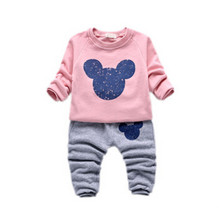 New Children 's clothing sets Mickey Minnie boys and girls fashion sportswear sets Baby Kids Cotton Clothes for 1-4 years old