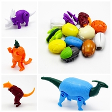 12Pcs/lot Novetly Mini transformation Dinosaur godzilla panda Leopard Animal Eggs models Action & Toy Figures for kid gift
