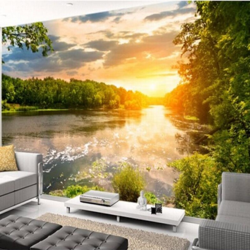 papel de parede Custom wallpaper landscape, river sunset, 3D photo wallpaper mural bedroom living room TV wall 3D wallpaper<br><br>Aliexpress