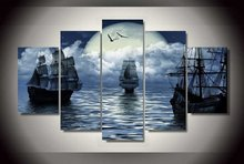 5 Pieces/set Cuadros Decoracion Boat seaview Wall Art Pictures For Living Room Printed Canvas Painting Photos Unframed