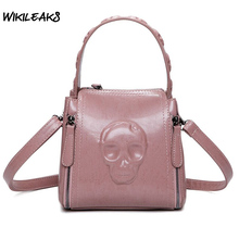 WIKILEAKS Arrival Women Messenger Bags PU Leather Tote Bags Skull Pattern Shoulder Bag Casual Crossbody Female Street Bag D129
