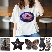 Reversible Change Color Sequins Sew On DIY Clothes Patches Accessories for T-shirt Jeans Clothing Appliques Bags Shoes Correctif
