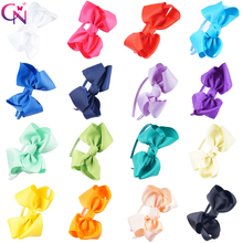 16 Pieces/lot Plain Hair Bows Hairbands For Kids Girls Handmade Ribbon Big Knot Bows Satin Covered Headbands Hair Accessories(China)