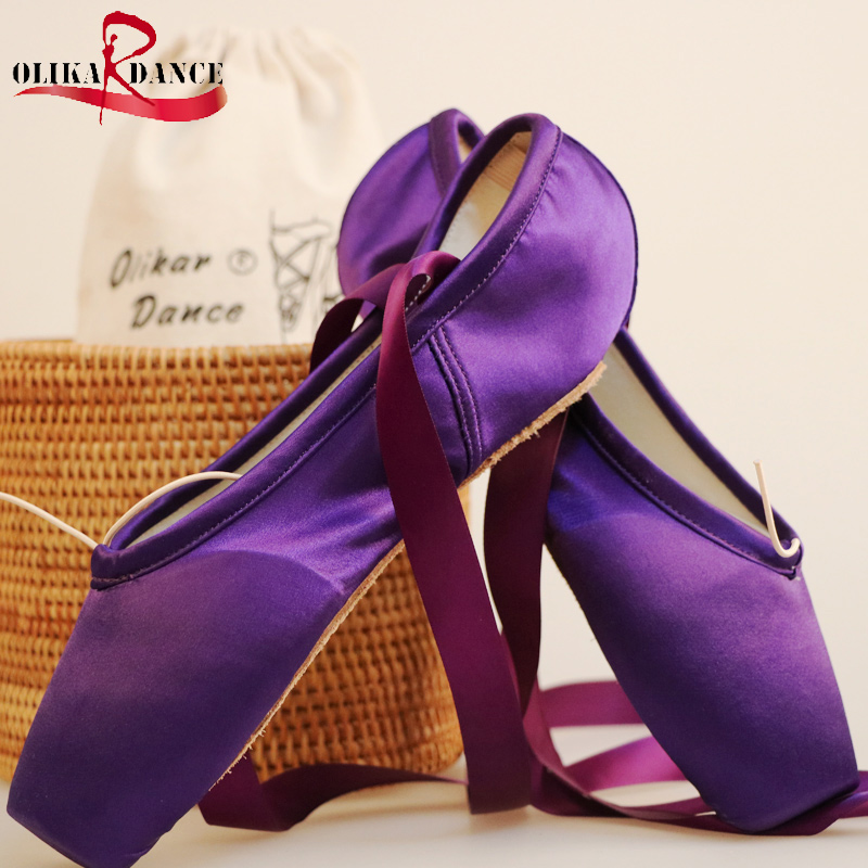 Hot sales Women Ballet dance Pointe shoes High quality colorful Satin ribbons with bag and Toe pads<br>