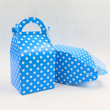 12pcs Paper Candy Box Chocolate Boxes Souvenir Bag Blue dot theme Boy Kids for Birthday Party Decoration Sweet Gifts Supplies
