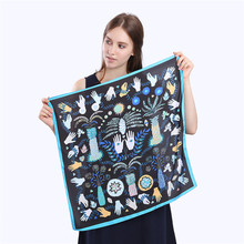 POBING 100% Plain Silk Scarf Women 2017 Monster Hands Eyes Square Scarves & Wraps Female Neckerchief Small Hijab Silk Foulard(China)