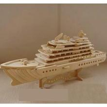 Fancy Intelligent Educational Toy 3D Model Ship Wooden Puzzle Diy Woodcraft Construction Kit Handmade Luxury Yacht