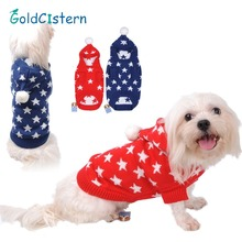 Pet Dog Cat Warm Clothes Hoodies Sweaters Christmas Fashion Lovely Stars With Hat Puppy Kitten Clothes for Dogs Cats Kitty
