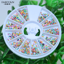 Colorful 3D Plastic Flatback Dot Bead Crystal Rhinestone Glitter Wheel Nail Art Polish Tips Decoration DIY Manicures Tool Supply