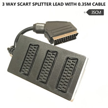 Electrovision 3-way Scart Splitter, Black 0.35m
