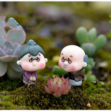 Hot Sale 2Pcs Cute Mini Figurines Miniature Old Granny Grandpa Resin Crafts Ornament Fairy Garden Home Decoration