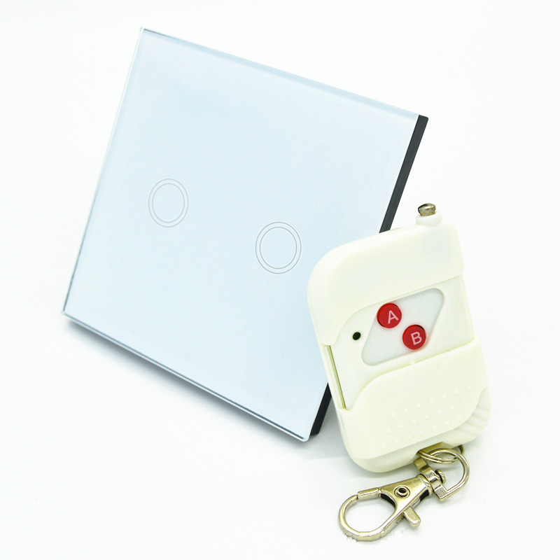 XIND ELE 2 gang 1 way interruptor Light Touch Switch for home automation with 2-key remote #XDTH02W+WR-2#<br><br>Aliexpress