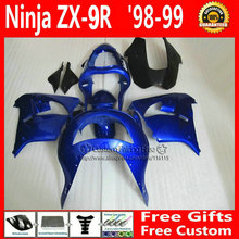 Dark blue custom fairing for Kawasaki Ninja fairings zx 9r 98 99 ABS plastic ZX 9R 1998 1999 mold bodyworks +7Gifts