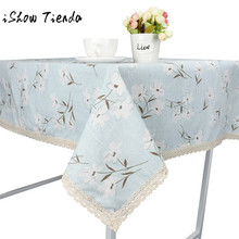 Floral Print Flower Dining Tablecloth Cotton Linen Rustic Rectangle Washable Table Cover Lace TableCover For Kitchen Home Decor(China)