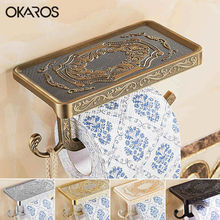 OKAROS 2017 Toilet Paper Holder With Phone Shelf Towel Roll Rack Phone Shelf With Hooks Wall Mounted Zinc Alloy Toilet Paper(China)