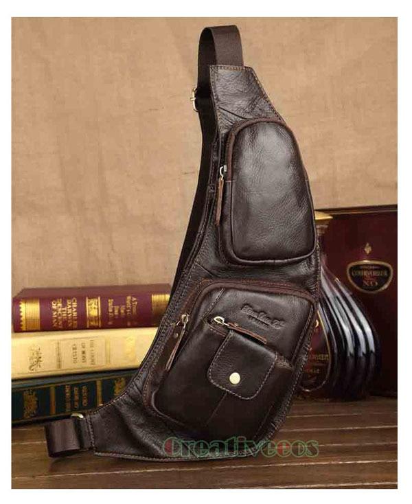 Mens Vintage Genuine Leather Travel Riding Motorcycle Shoulder Messenger Sling Chest Bag<br><br>Aliexpress