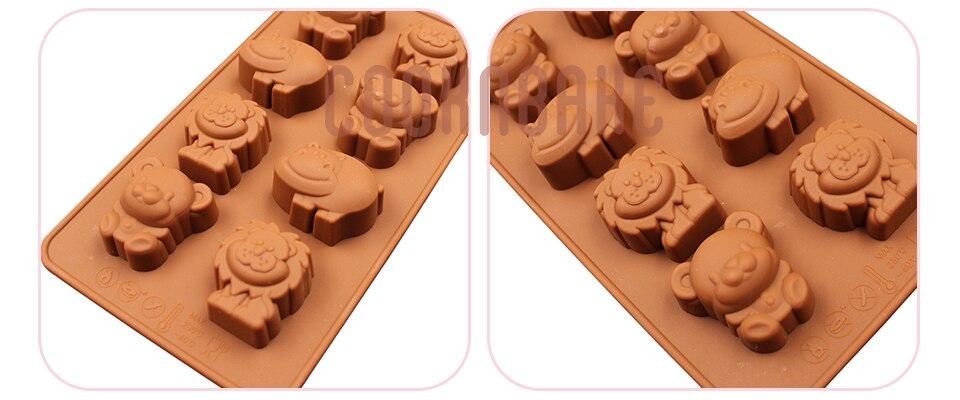 Lion Hippo Silicone Fondant Mould Animal Cake Chocolate Baking Icing Cube Mold