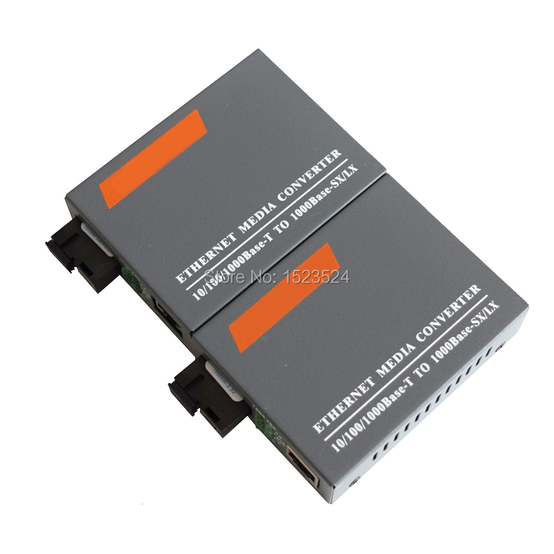 1 Pair HTB-GS-03 A/B Gigabit Fiber Optical Media Converter 1000Mbps Single Mode Single Fiber SC Port 20KM External Power Supply