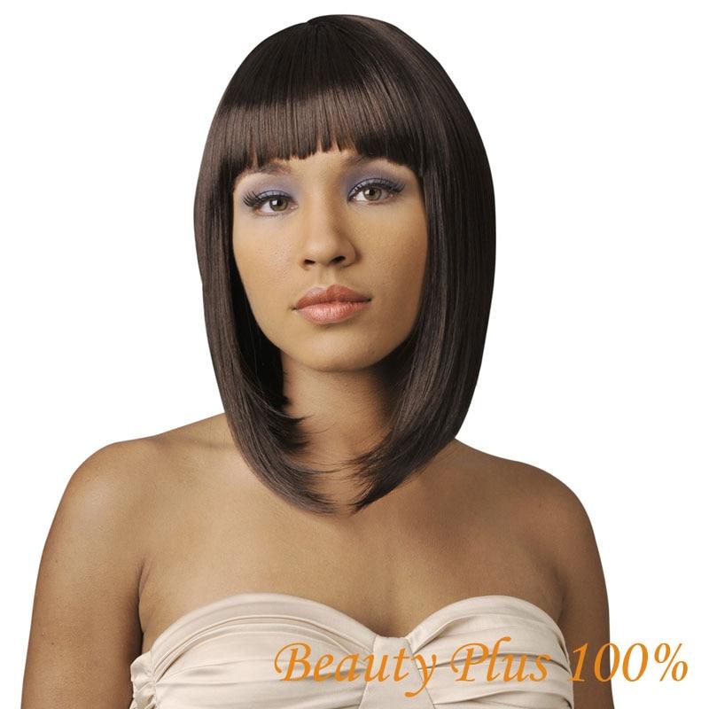 Delicate Newest Fashion Women Ladies Pro Salon Short Straight Full Bangs Hair Cosplay Wig Dark Brown/Light Brown/Black Free Cap<br><br>Aliexpress