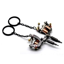 Charms New Mini Tattoo Machine Model Key Chains Key Ring Birthday Gift Metal Crafts Pendants Keychain(China)