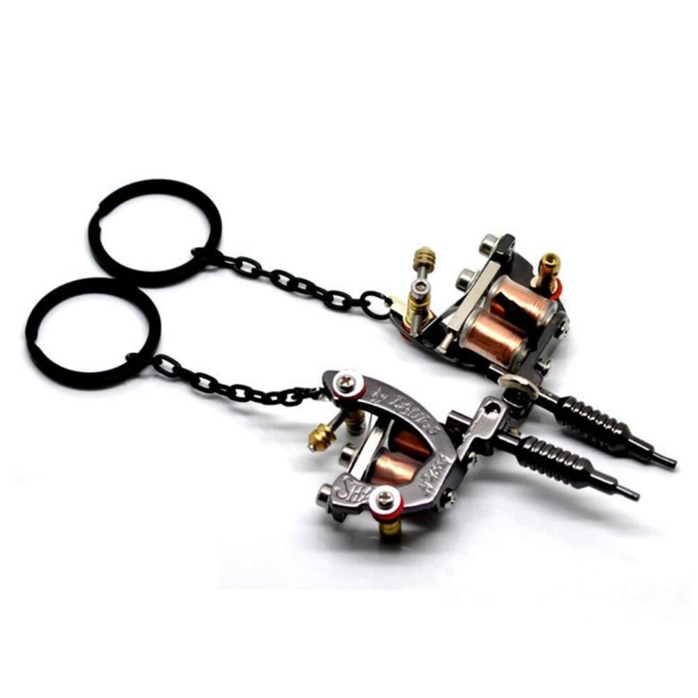 Charms New Mini Tattoo Machine Model Key Chains Key Ring Birthday Gift Metal Crafts Pendants Keychain(China (Mainland))