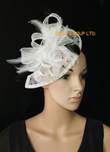 NEW White/black Polka dot print Sinamay  Fascinator hat with feather for wedding church.