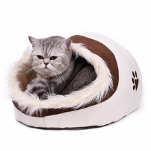 Warm Paw Style Cat Cave Bed Pet Cat House Lovely Soft Pet Cat Cushion High Quality Pet Dog Bed House Products Leopard(China)