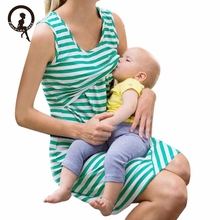 Pregnancy Nursing clothes for pregnant women lactation maternity Stripe dresses clothing for breastfeeding dress for summer EY11(China)