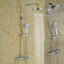 Wholesale And Retail Luxury Chrome Finish Rain Shower Faucet Set Thermostatic Valve W/ Hand Sprayer