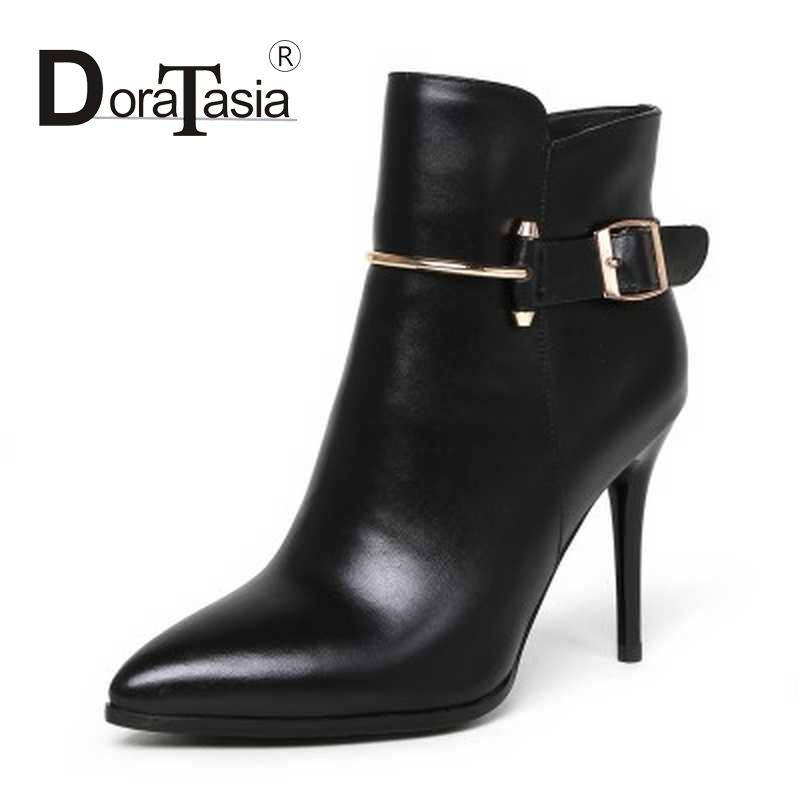 Big Size 33-43 Women Ankle Boots Pointed Toe Fur Inside Shoes Zipper Thin High Heels Shoes Black High Quality Autumn Winter Boot<br><br>Aliexpress
