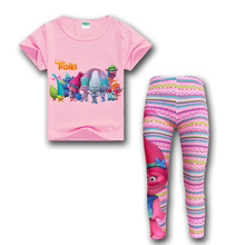 Free Shipping Girls Trolls Sport Suit T-shirts + Print Leggings Tracksuit for Girls Kids Sports Clothes Children's Clothing Set