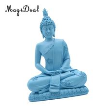 MagiDeal Handmade Resin Meditation Sitting Buddhism Statue Religious Buddha Figurine Home Art Decorative Ornaments(China)