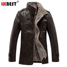 LKBEST 2017 New men Leather Jacket PU winter warm men leather coat  wool liner casual pilot leather jacket brand clothing (PY32)