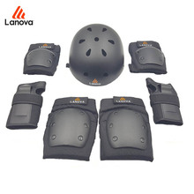 LANOVA 7pcs/Set Skate Protective Gear Knee Elbow Pads Wrist Protection Skate Helmet For Scooter Cycling Roller For Adults 4 Size(China)