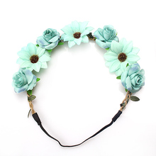 M MISM 2017 New Woman Elactic Wedding Headband Flowers Head Accessories Girls Beauty Leaves Knitted Beach Bridesmaids Hair Bands(China)
