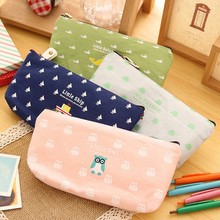 1 Pc Pen Box Pouch Bag Bags School Canvas Pencil Case Vintage Stationery Case Printing Large South Korea Stationery