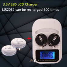 1PCS charger+2PCSLIR2032 , rechargeable LIR2032 LIR2025 LIR2016 3.6V button battery, LED rechargeable display, USB interface