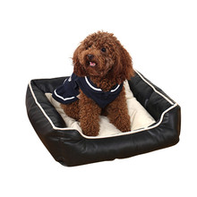 Pet dog leather washable square PU pet nest black and coffee dog beds S/M/L Free shipping pet house washable pet nest dog bed