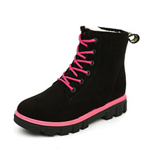 Hot 2017 New Fashion Lace-up Ladies Winter Warm Plush Snow Boots Women Martin Ankle Boots Casual Flat Shoes Booties Botas O1683