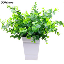 Plastic flower artificial flowers decorate the living room furnishings plants flower grass green leaves with Eucalyptus(China)