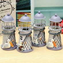 KiWarm Lovely Mediterranean Style Lighthouse Wrought Iron Candle Holder Candlestick For Home Decor Crafts Gift Pattern Randomly
