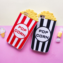 Super Fashion 3D Pop Corn Soft Silicon Case Cover For Iphone4 4S 5 5S SE 6 6S 7 6Plus 7Plus(China)