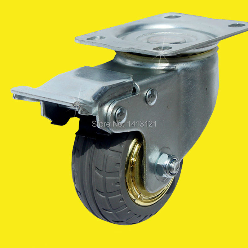 free shipping 75mm caster solid rubber tire trolley wheel bearing caster universal mute round wheel small cart medical bed wheel<br>