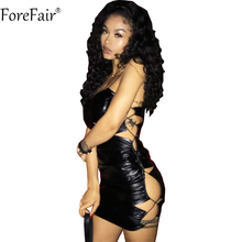 Buy ForeFair Sexy Hollow Lace-Up Party Club Dress Women Sling Mini Bodycon PU Leather Dress for $12.80 in AliExpress store