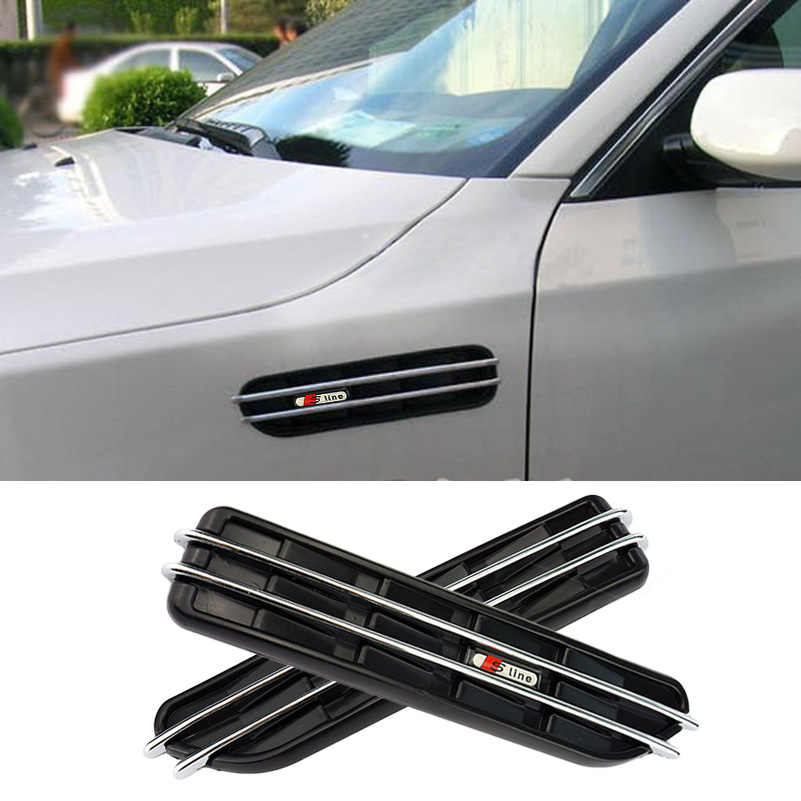 Decorative Front Fender Side Vent Grills Self-Adhesive Air Flow Exterior For Audi A3 A4 B6 B7 B8 A5 A6 C5 C6 A8 Q5 Q7 TT Sline(China (Mainland))
