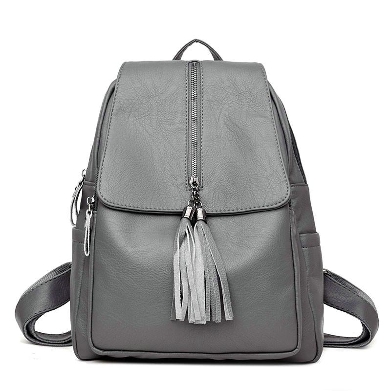 7af7018c5f51 Newest Backpack Tassel Women Leather Backpack Teenage Backpacks For ...