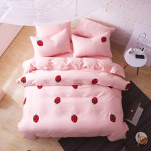 Svetanya Strawberry Applique Embroidery Bedding Sets Egyptian cotton Duvet Cover Set Queen King Size Bedlinen(China)